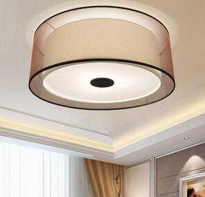 现代简约吸顶灯圆形卧室灯 布艺客厅灯具大气温馨书房LED吸顶灯