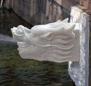 汉白玉喷水龙头摆件天然大理石雕刻