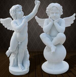 石雕西方人小孩雕塑室内户外欧式汉白玉天使人物雕像装饰摆件