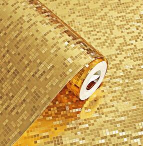 3D立体金色银色防水格子马赛克墙纸卫生间厨房柱子KTV柜台壁纸