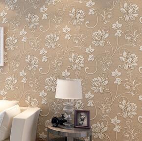 居翼无纺布壁纸大花花纹卧室客厅电视背景加厚植绒立体浮雕3D墙纸