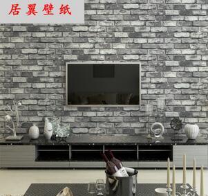 居翼3D仿古砖墙纸中式茶楼复古文化店铺店面饭店客厅电视背景壁纸