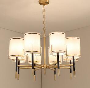 美式乡村田园全铜6头吊灯新中式复古餐厅卧室北欧简约大气客厅灯