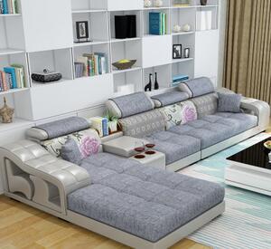 简约现代大小户型客厅L型布艺沙发组合