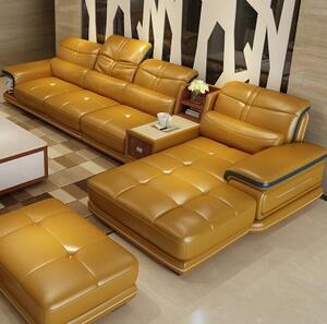 黄牛皮小户型沙发简约现代客厅转角组合皮艺沙发