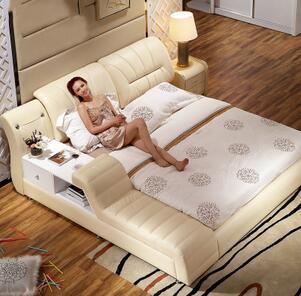 主卧榻榻米 真皮床双人1.8米进口头层黄牛皮婚用床