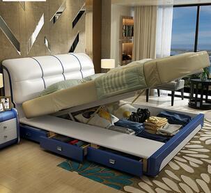 床真皮软床现代卧室大少户型双人婚床1.5米1.8米储物床