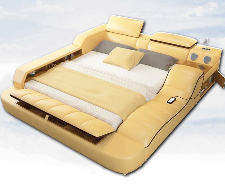 榻榻米真皮床 多功能按摩床 1.8米主卧皮艺床软体头层皮婚床