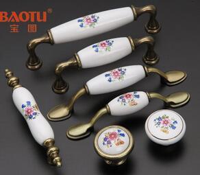 仿古田园陶瓷拉手橱柜拉手欧式室内拉手把手青古铜拉手