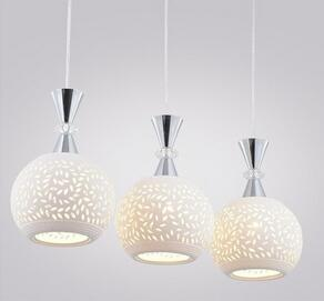 康乐 LED现代简约餐厅灯 三头陶瓷吊灯E27圆头灯具灯饰 厂家直销