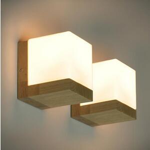 中式现代卧室床头实木壁灯 宾馆酒店客房创意日式橡木方糖墙壁灯