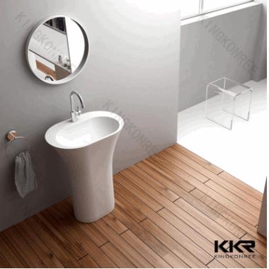 高档定制立柱盆 细款热卖洗手盆 落地式一体立柱盆 浴室立柱盆