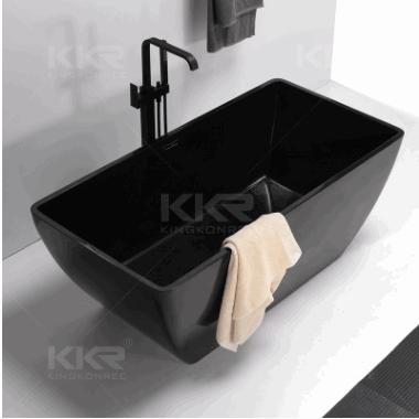 简约时尚站立浴缸 人造石浴缸 黑色浴缸