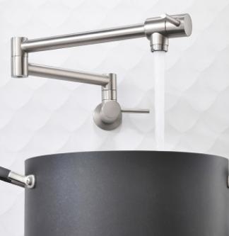 折叠式双把手开关龙头厨房水槽龙头入墙单冷水龙头洗碗池菜盆龙头