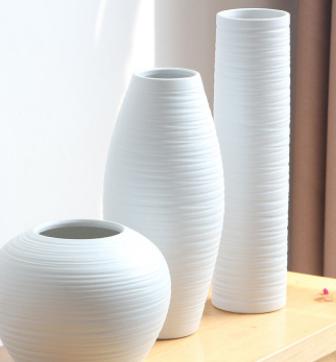 创意简约现代花瓶摆件 白色三件套家居装饰品 软装饰品