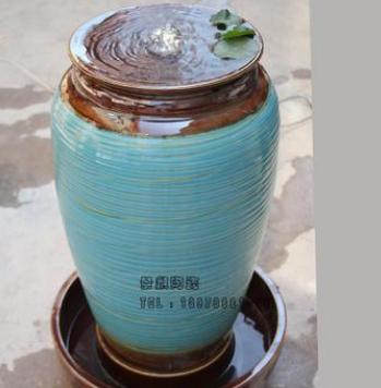 欧式陶瓷流水器喷泉落地加湿风水装饰摆件花瓶现代会所餐厅陶罐