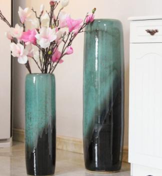 景德镇瓷器陶瓷工艺品落地花瓶客厅现代简约插花电视柜工艺品摆件