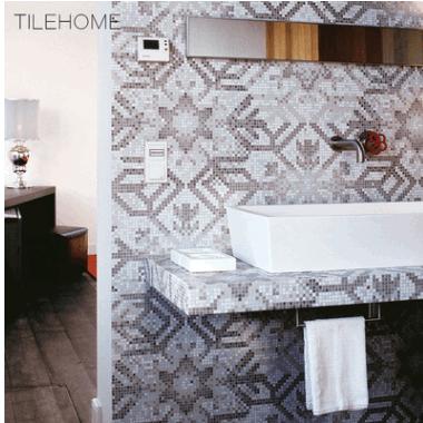 简约雪花玻璃马赛克拼图瓷砖卫生间装饰电视过道背景墙