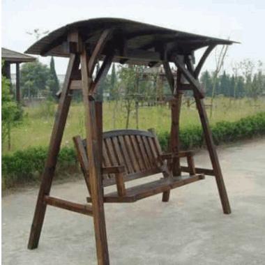 庭院阳台家用成人防腐木吊椅 碳化木 实木户外秋千 吊椅 摇椅