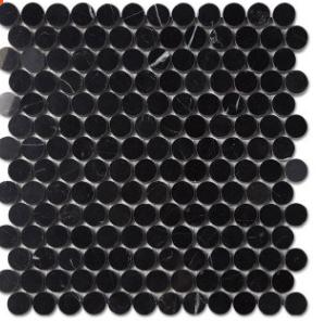圆形马赛克 马赛克厂家 黑色天然大理石石材马赛克批发马赛克墙砖