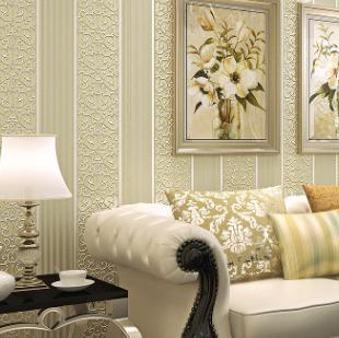 3D立体浮雕无纺布墙纸欧式简约条纹卧室客厅书房背景墙壁纸批发