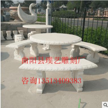 石雕石桌石凳 天然雪花白大理石简易门墩坐墩 园林景观装饰摆件