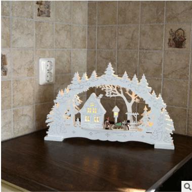 外贸北欧风格圣诞用品木制房子夜灯LED灯室内家居装饰工艺品摆件