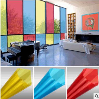 PET彩色玻璃贴膜 遮阳防晒建筑隔热膜 改色膜 防晒隔热玻璃贴纸