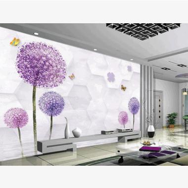 电视背景壁画纸客厅卧室大型3D立体无缝墙布蒲公英无纺布厂家批发