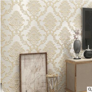 欧式无纺布壁纸 4d立体精压大马士革 卧室客厅背景墙高档品牌墙纸