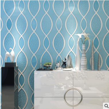 现代无纺布墙纸 3D波纹卧室书房客厅墙纸简约电视机背景墙壁纸