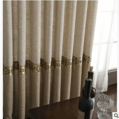 厂家直销品牌窗帘布艺新款纯色拼接棉麻窗帘布现代简约成品定制纱