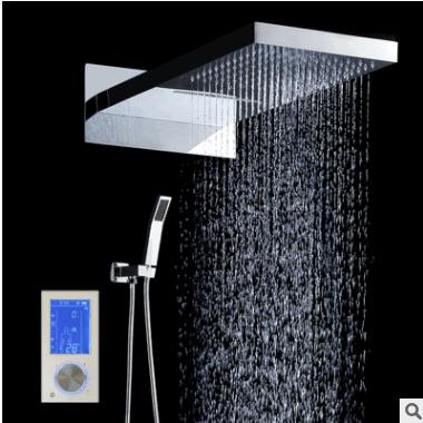 恒美欧式智能数控面板淋浴套装 不锈钢入墙式大顶喷淋浴花洒