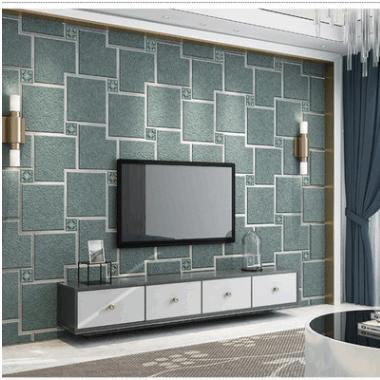 简约现代3D无纺布鹿皮绒壁纸客厅卧室电视墙沙发背景墙纸素色格子