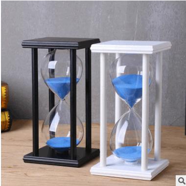 15/30分钟玻璃水晶沙漏 创意家居工艺礼品摆件木质时间沙漏计时器