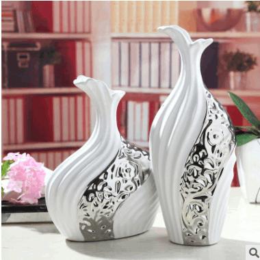 厂家直销陶瓷家居饰品现代简约花瓶摆件创意花器镀银花瓶爆款直销