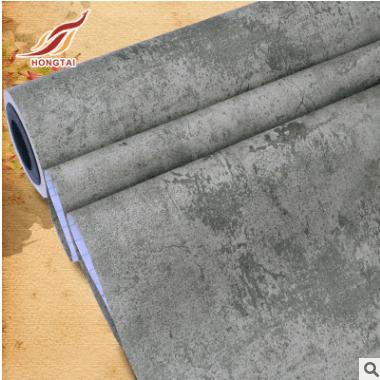 加厚PVC自粘墙纸防水 灰色复古水泥墙纸 商城店铺展馆工业风壁纸