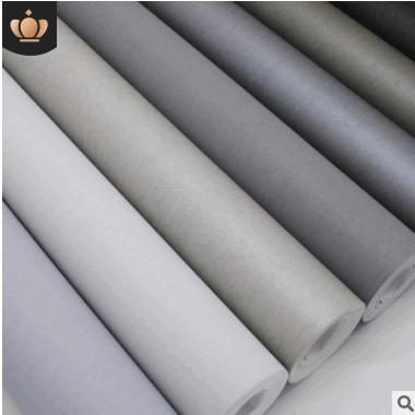 现代简约北欧素色无纺布蚕丝纹墙纸浅灰色纯色客厅服装店卧室壁纸