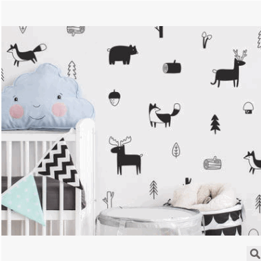d124北欧风格的森林动物林地树苗墙贴画 儿童房装饰贴纸跨境货源