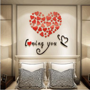 立体墙贴贴画装饰画冰箱贴纸卧室床头温馨浪漫背景墙创意婚房布置