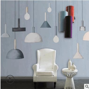 长沙厂家直销墙纸 3d手绘现代北欧简约艺术吊灯背景墙装饰画批发