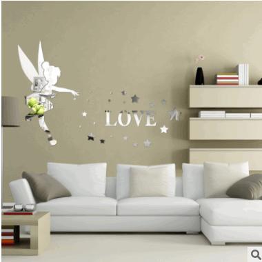 精彩墙饰3D亚克力小天使立体镜面卧室客厅电视墙卡通动漫墙贴装饰