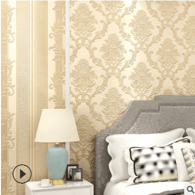 高档大马士革客厅无纺布工程3d壁纸 欧式装修墙纸电视背景墙卧室
