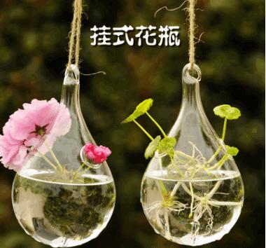 茗轩创意悬挂透明玻璃花瓶 简约水滴型水培花器玻璃器皿厂家直销