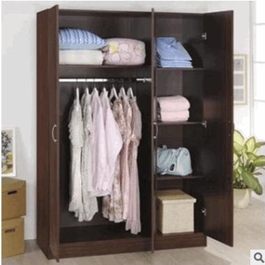 厂价直销颗粒实木三门衣柜防水防晒阳台柜简易衣橱储物柜儿童柜