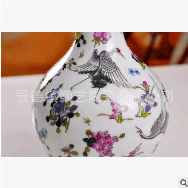 厂家直销 景德镇陶瓷花瓶夜光瓶五彩蝴蝶粉彩