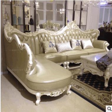 欧式实木转角沙发 法式大小户型客厅奢华牛皮L形沙发组合可定制
