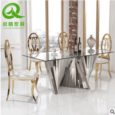 厂家供应 时尚不锈钢餐台 钢化玻璃餐台 多功能不锈钢餐台桌子