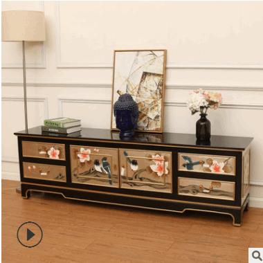 美式实木电视柜茶几组合套装 客厅储物柜2米轻奢家具套装 新中式
