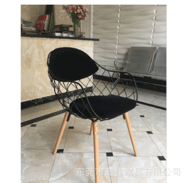简约现代创意铁丝椅子菠萝编织花蓝椅 咖啡厅餐厅北欧餐椅